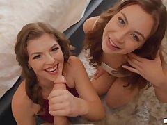 Weirdo cameraman fucks two Facetious ambisextrous babes on camera