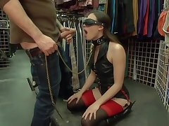 Blindfolded slave anal gangbanged with talk about