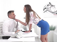 Sexy sob sister Karina Grand enjoys copulation with her colleague in her office