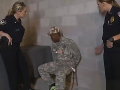 Blonde cop Joslyn riding black soldier schlong