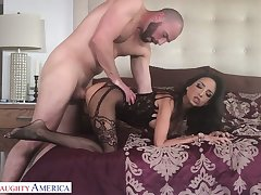 Horny lover enjoys licking and fucking wet pussy of sex-appeal neonate in lingerie Bianca Burke