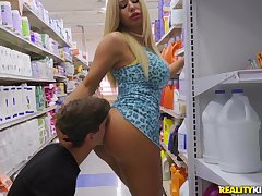 Blonde mom gets picked about and fucked wide of a much younger crony