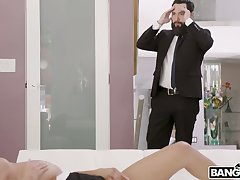Busty coed Autumn Falls has no commerce fucking her stepdad