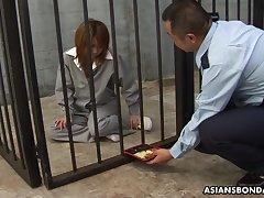 Corrupt blowjob provider Rio Haruna has to suck her way to freedom