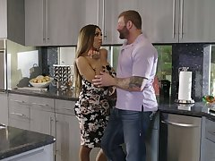 Uncompromisingly fuckable shemale with big tits gets fucked in the kitchen