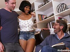 Stepson and stepdad fuck ebony chick Jenna Foxx and cum on their way black boobs