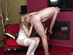 Mature in satin lingerie, inauspicious habitation sex with her son
