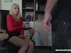 Festival nympho is caught during masturbation and fucked away from horny old boss