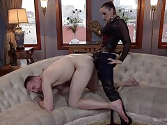 Strap-on anal for her male related vanguard sitting on his facet