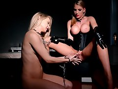 BDSM fetish with attractive lesbians Chloe Toy and Danielle Maye