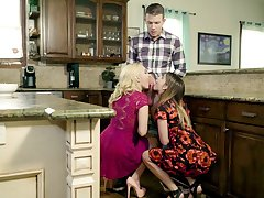 Remarkable kitchen triune with mommy and her slutty step daughter