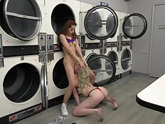 Alluring lesbians down at the laundromat, impudent oral and nude porn