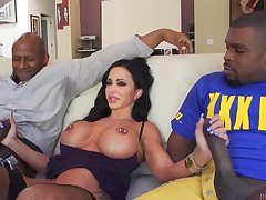 Jewels Exhaust Busty MILF Interracial Gangbang