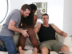 Ebony girl Anne Amari is fucked and creampied by hot blooded characterless guys