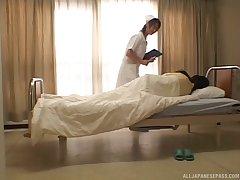 Japanese nurse Konomi Sakura enjoys eating pussy of her patient