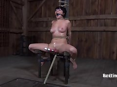 Nasty torture set-to with affianced brunette Nyssa Nevers. HD