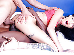 Scrawny Tgirl Maira Dimov Makes Him Watch In the lead He Can Join be required of a Threesome