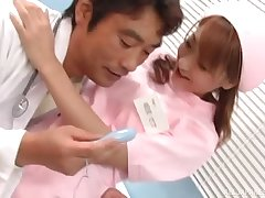 Japanese nurse gets her pussy pleasured wide of someone's skin dirty doctor