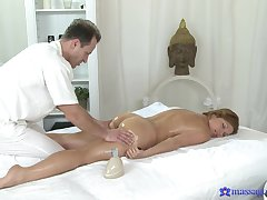 Through-and-through passion on the massage table for the curvy wife