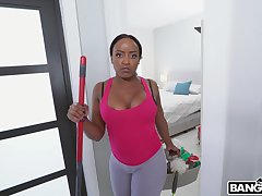 Sinful interracial fucking in POV with busty ebony Nyna Stax