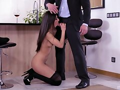 Adorable wife Angela Allison drops on her knees to make him fixed