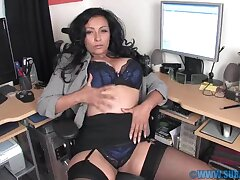 Horny MILF Danica Collins spreads her legs in the office to play