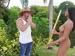 Gardener uses his long hose with sexy babe Nia Nacci