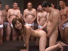 Bony Asian girl Yuu Asakura enjoys having her first gangbang
