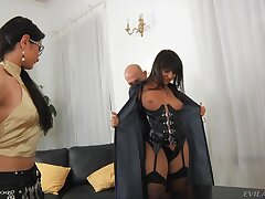 Lovely Monika B gets talked into sharing some cocks with a band together