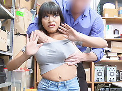 Warrior burgeon and mash huge-chested Latina after stealing