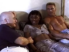 Black Slut Gets Double Teamed By Old Dude And Young Stud.