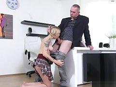 Innocent schoolgirl was tempted and rode by her older teacher