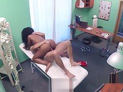 Doctor jizzed ebony cleaning lady