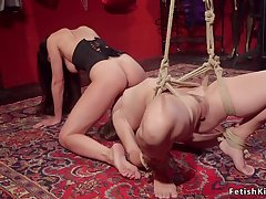 Submissive lesbian spanked and face fornicateed