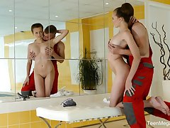 Chesty Freulein Stacy Cruz provides stud not only with BJ but also footjob